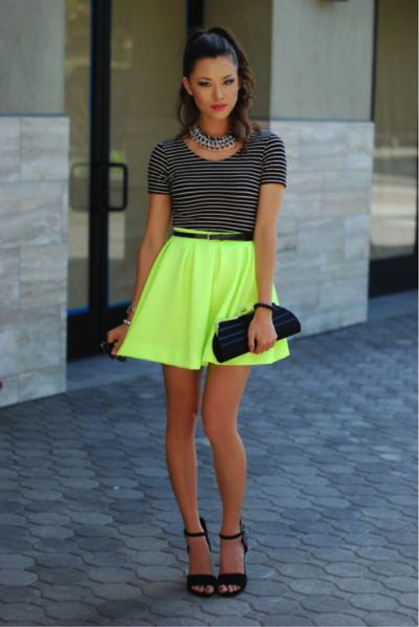 Yellow Neon skater skirt pictures