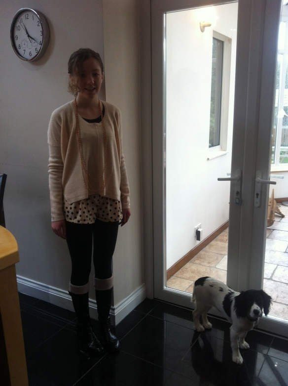 My jumper i from New Look, my shorts are from H&M, my boots are from M&S and my dog is not for sale!