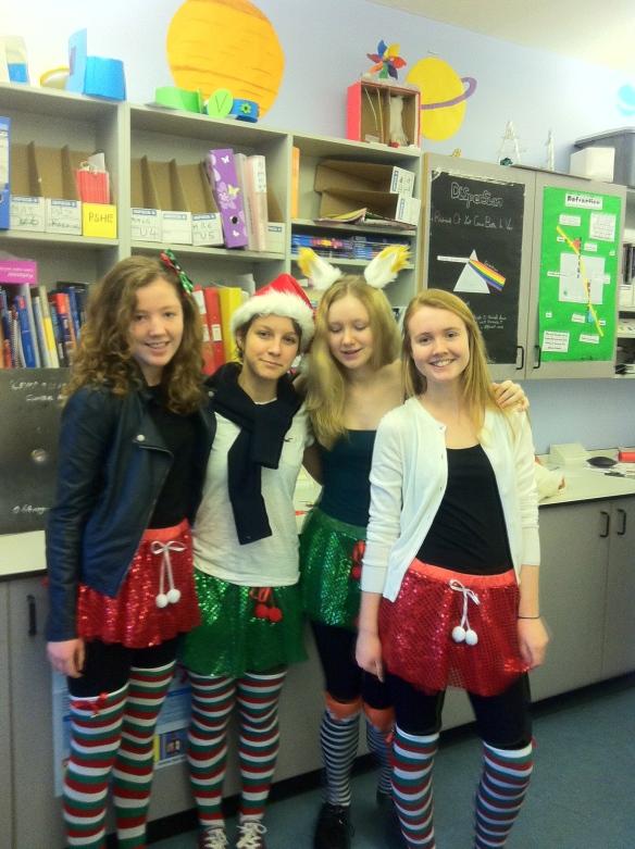 Our Christmas tutus and stripy socks are from Claire's and my leather jacket is from Miss Selfridges.